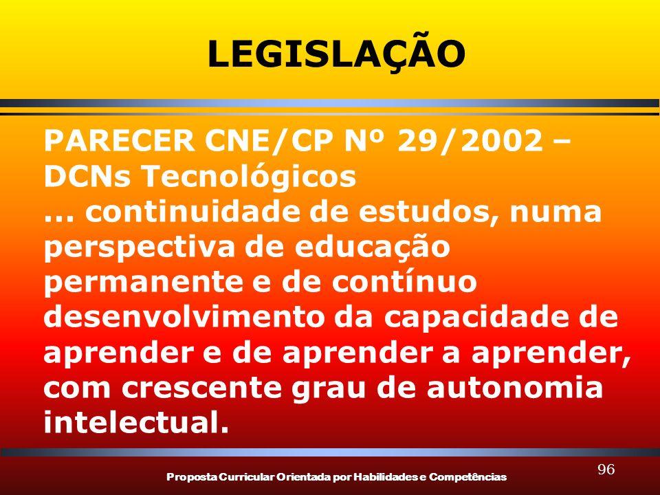 Proposta Curricular Orientada por Habilidades e Competências 96 LEGISLAÇÃO PARECER CNE/CP Nº 29/2002 – DCNs Tecnológicos... continuidade de estudos, n