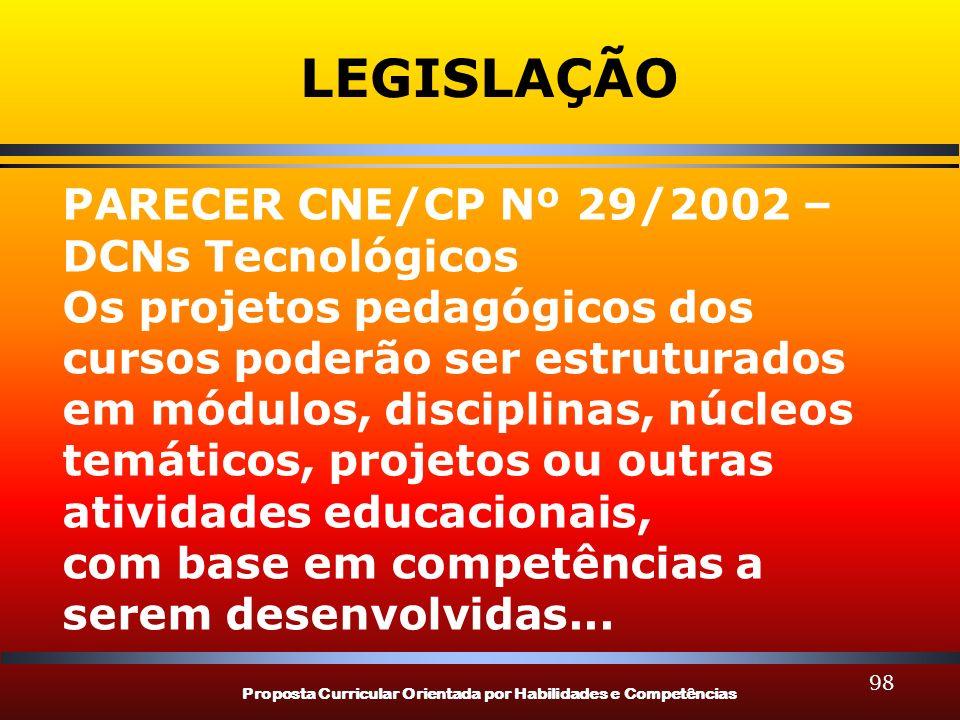 Proposta Curricular Orientada por Habilidades e Competências 98 LEGISLAÇÃO PARECER CNE/CP Nº 29/2002 – DCNs Tecnológicos Os projetos pedagógicos dos c