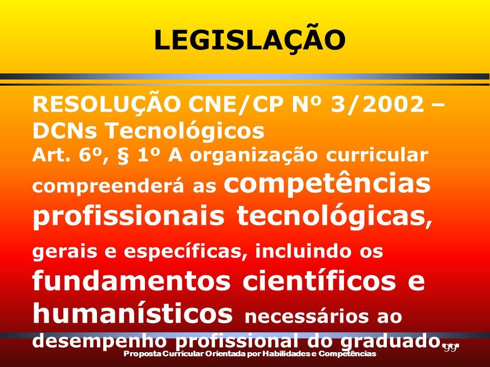 Proposta Curricular Orientada por Habilidades e Competências 99 LEGISLAÇÃO RESOLUÇÃO CNE/CP Nº 3/2002 – DCNs Tecnológicos Art. 6º, § 1º A organização