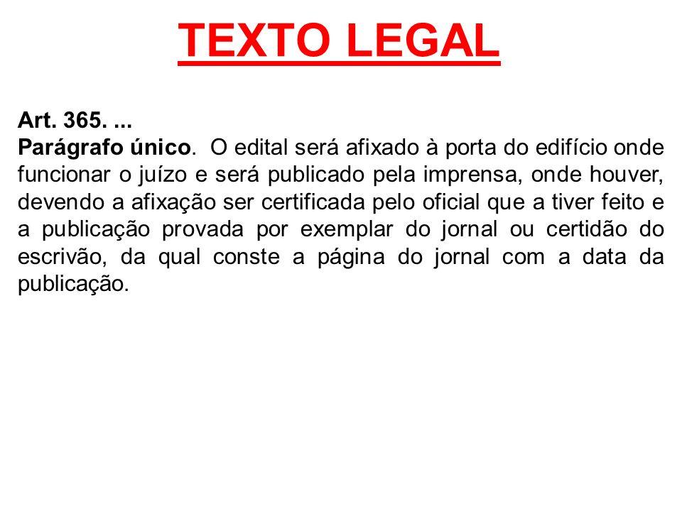 TEXTO LEGAL Art. 365.... Parágrafo único. O edital será afixado à porta do edifício onde funcionar o juízo e será publicado pela imprensa, onde houver