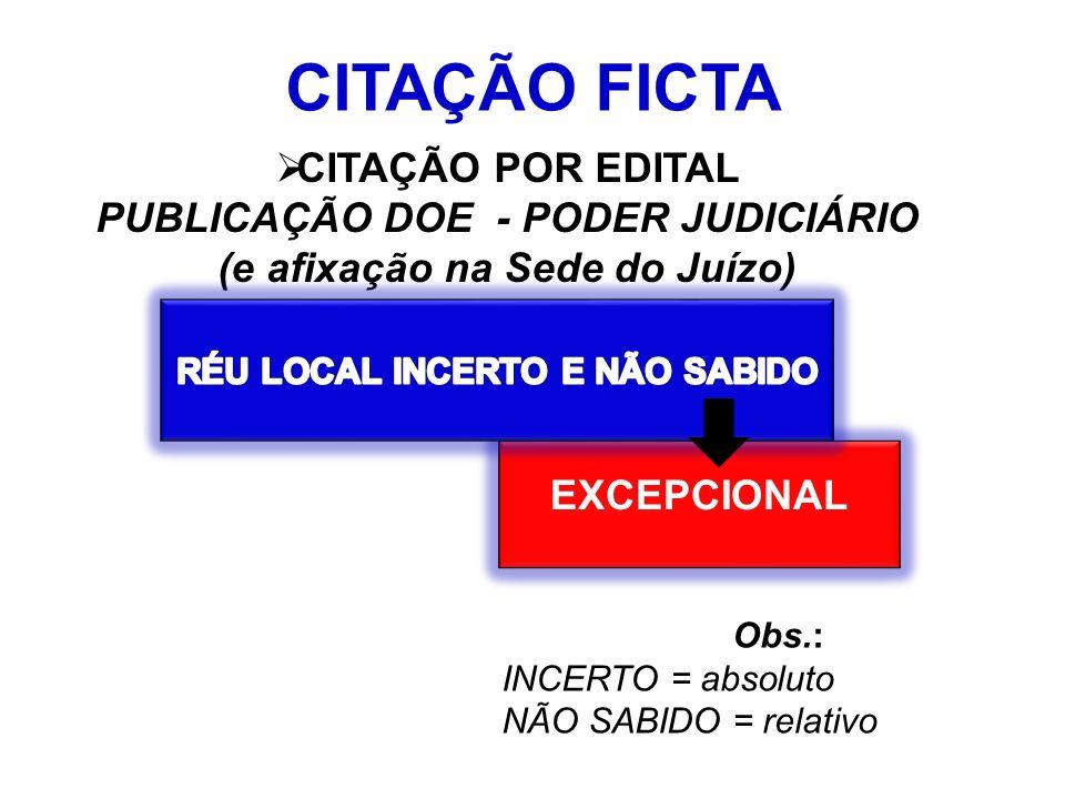 CITAÇÃO FICTA CITAÇÃO POR EDITAL PUBLICAÇÃO DOE - PODER JUDICIÁRIO (e afixação na Sede do Juízo) EXCEPCIONAL Obs.: INCERTO = absoluto NÃO SABIDO = relativo