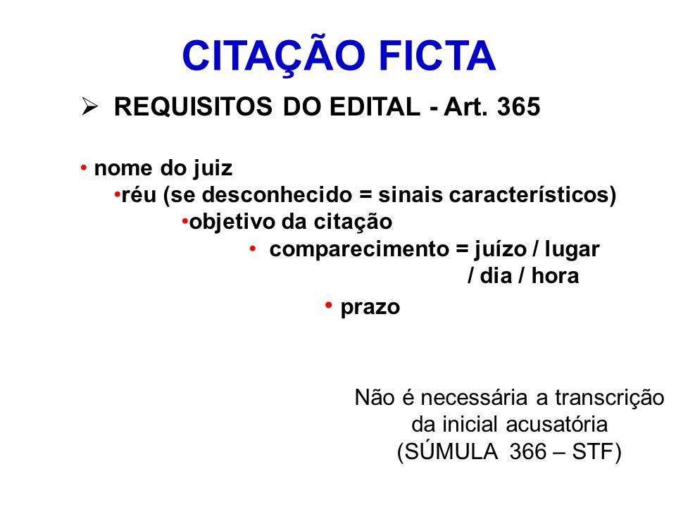 CITAÇÃO FICTA REQUISITOS DO EDITAL - Art. 365 nome do juiz réu (se desconhecido = sinais característicos) objetivo da citação comparecimento = juízo /