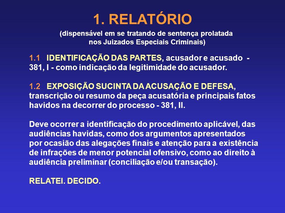 (dispensável em se tratando de sentença prolatada nos Juizados Especiais Criminais) 1.1 IDENTIFICAÇÃO DAS PARTES, acusador e acusado - 381, I - como indicação da legitimidade do acusador.