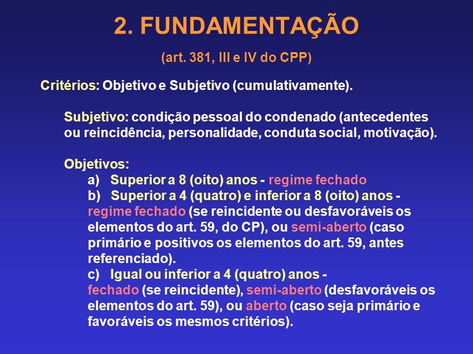 2. FUNDAMENTAÇÃO (art. 381, III e IV do CPP) 2.9 FIXAÇÃO DO REGIME DE PENA (pena privativa de liberdade) Privativas de liberdade: reclusão e detenção
