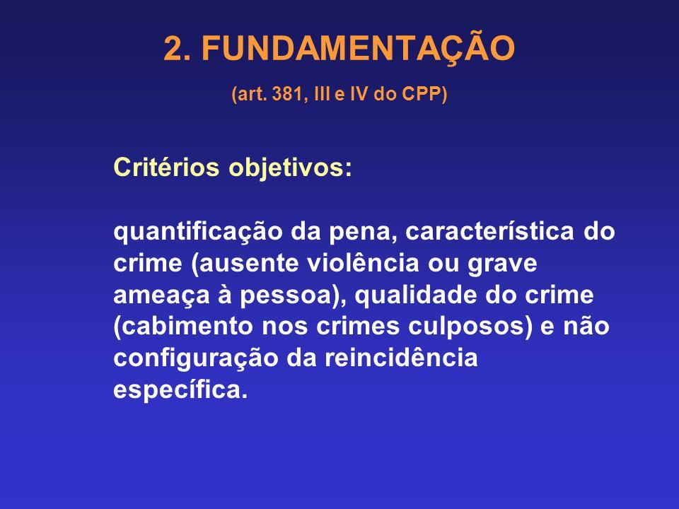 2. FUNDAMENTAÇÃO (art. 381, III e IV do CPP) § 2o Na condenação igual ou inferior a um ano, a substituição pode ser feita por multa ou por uma pena re