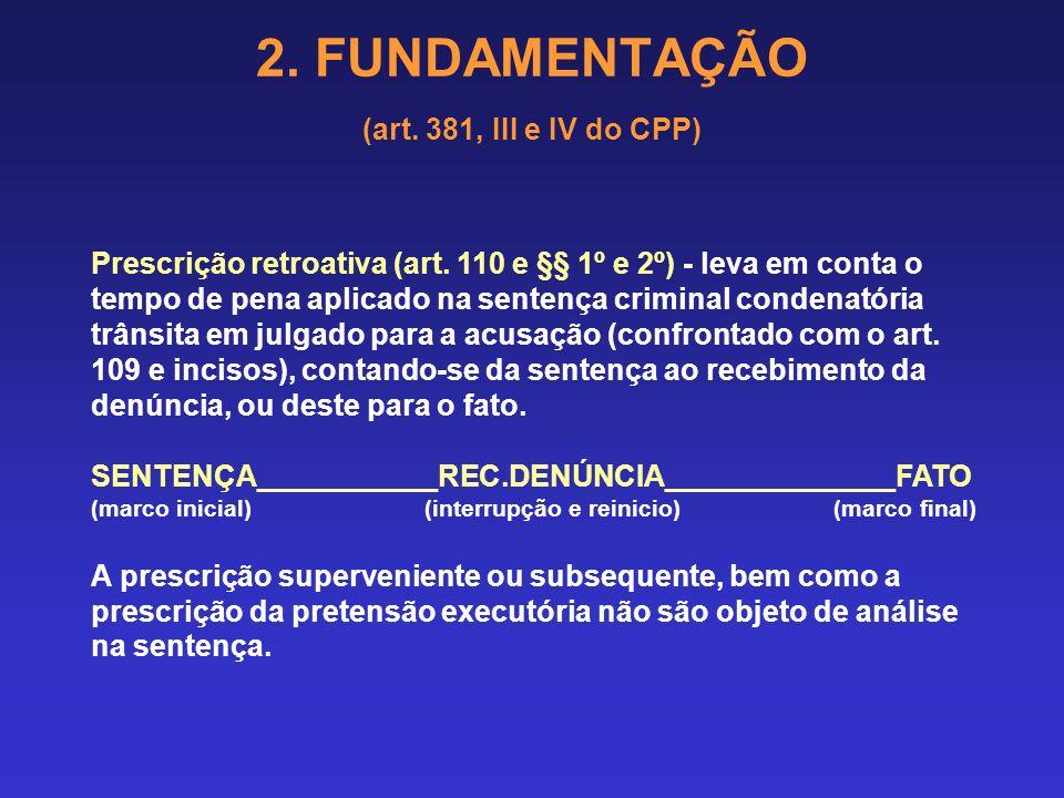 2. FUNDAMENTAÇÃO (art. 381, III e IV do CPP) 2.14 PRESCRIÇÃO Prescrição da pretensão punitiva - leva em conta o tempo máximo de pena previsto para a i