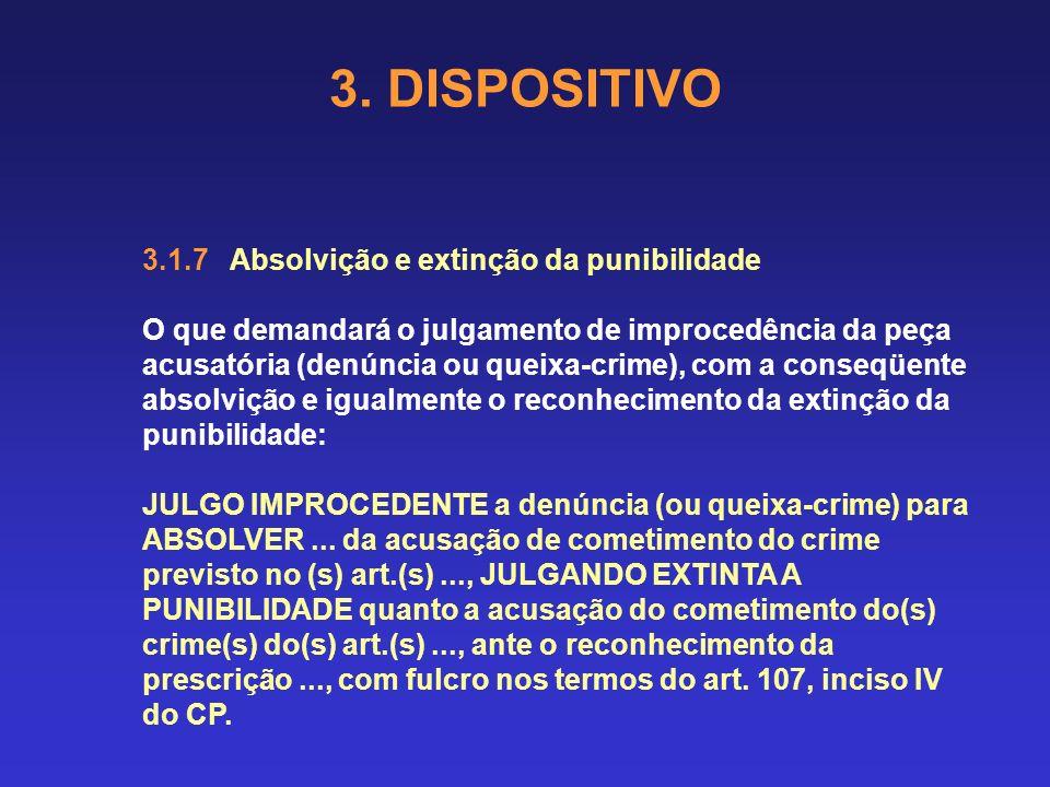3. DISPOSITIVO 3.1.6 Condenação e extinção da punibilidade O que demandará o julgamento de procedência da peça acusatória (denúncia ou queixa-crime),