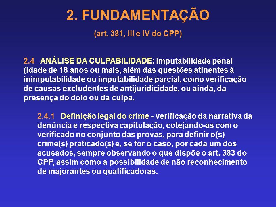 2.FUNDAMENTAÇÃO (art. 381, III e IV do CPP) 2.10 SUBSTITUIÇÃO POR PENA(S) ALTERNATIVA(S) Art.