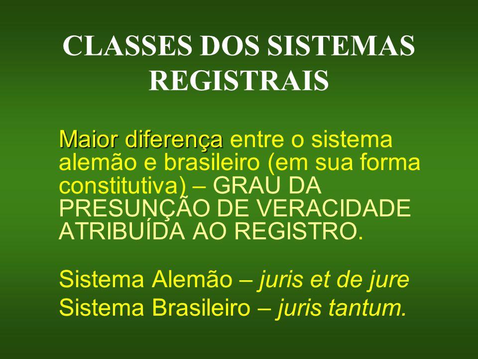CLASSES DOS SISTEMAS REGISTRAIS Maior diferença Maior diferença entre o sistema alemão e brasileiro (em sua forma constitutiva) – GRAU DA PRESUNÇÃO DE