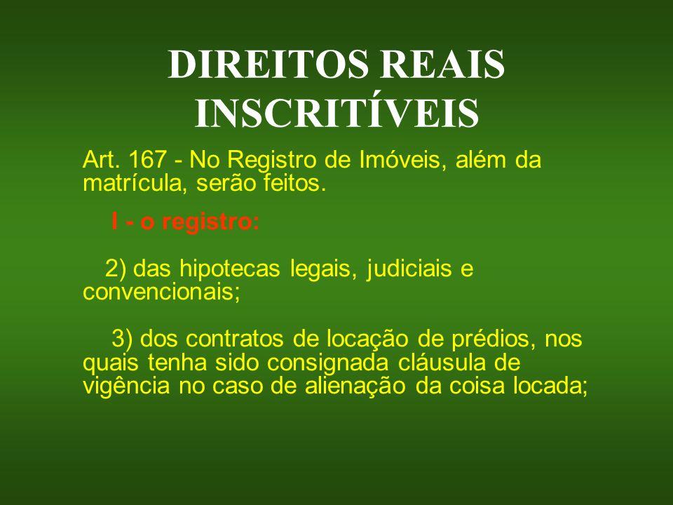 DIREITOS REAIS INSCRITÍVEIS Art. 167 - No Registro de Imóveis, além da matrícula, serão feitos. I - o registro: 2) das hipotecas legais, judiciais e c