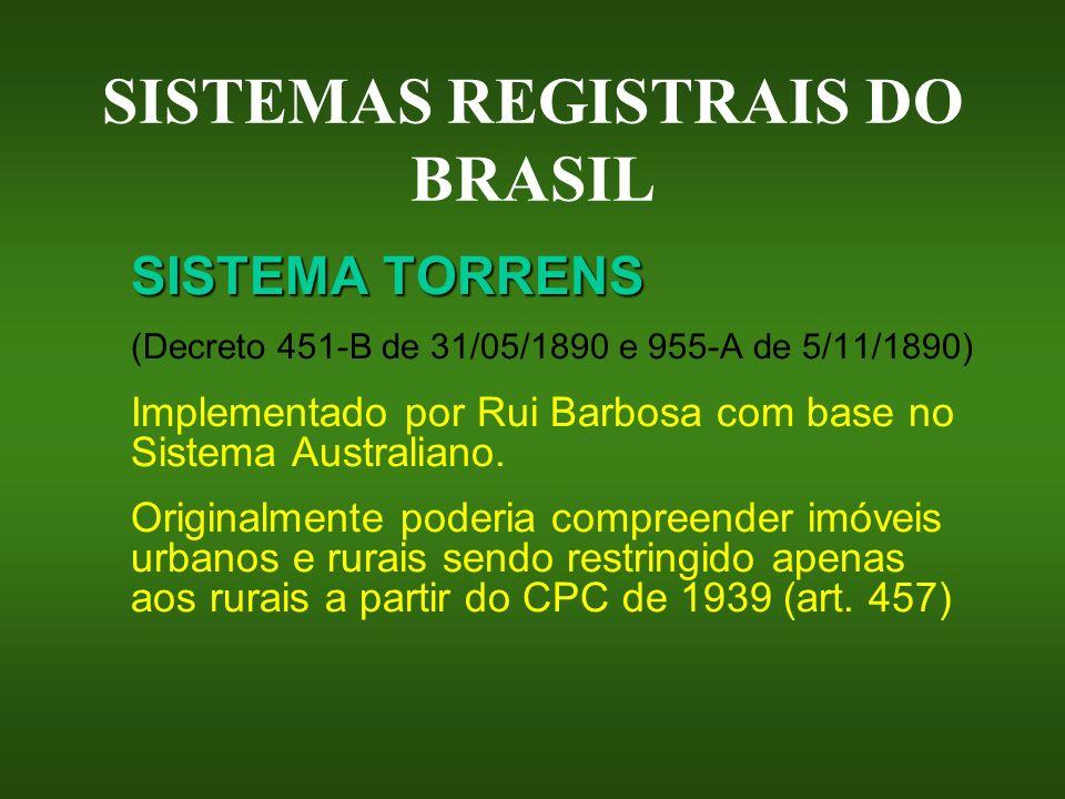 SISTEMAS REGISTRAIS DO BRASIL SISTEMA TORRENS (Decreto 451-B de 31/05/1890 e 955-A de 5/11/1890) Implementado por Rui Barbosa com base no Sistema Aust