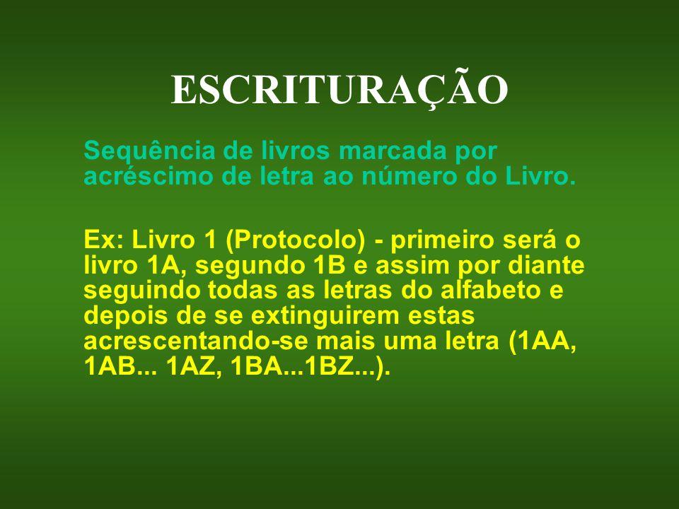 ESCRITURAÇÃO Sequência de livros marcada por acréscimo de letra ao número do Livro. Ex: Livro 1 (Protocolo) - primeiro será o livro 1A, segundo 1B e a