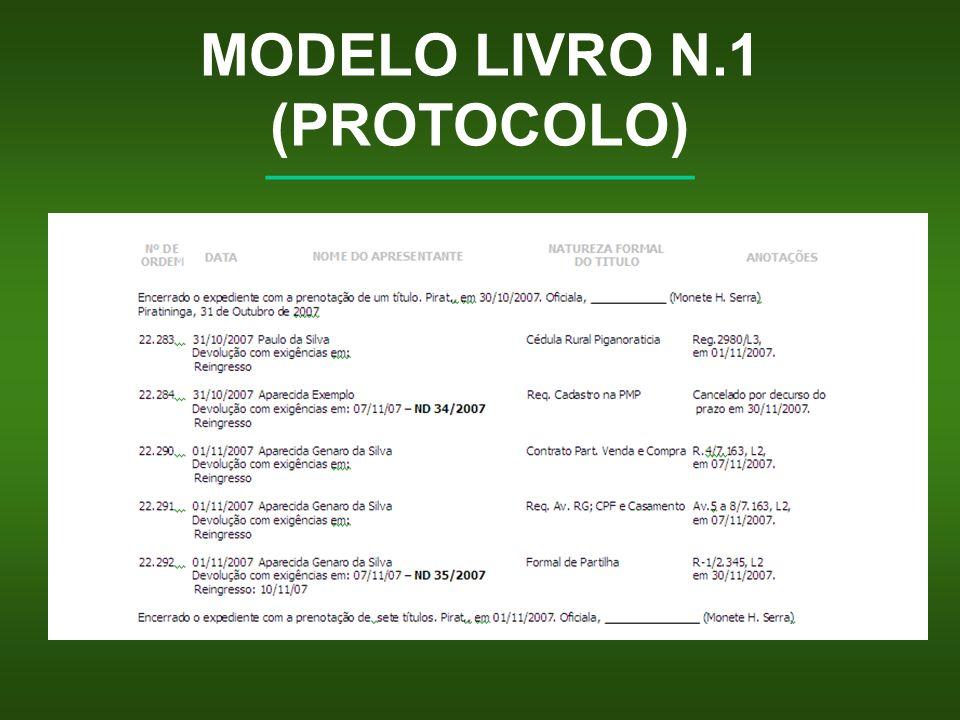 MODELO LIVRO N.1 (PROTOCOLO) __________________