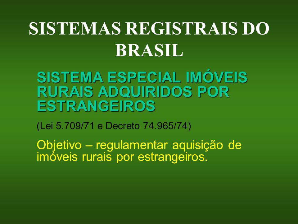 SISTEMAS REGISTRAIS DO BRASIL SISTEMA ESPECIAL IMÓVEIS RURAIS ADQUIRIDOS POR ESTRANGEIROS (Lei 5.709/71 e Decreto 74.965/74) Objetivo – regulamentar a