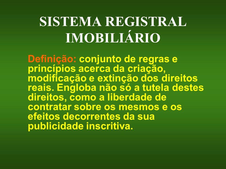 SISTEMA REGISTRAL IMOBILIÁRIO Definição: conjunto de regras e princípios acerca da criação, modificação e extinção dos direitos reais. Engloba não só