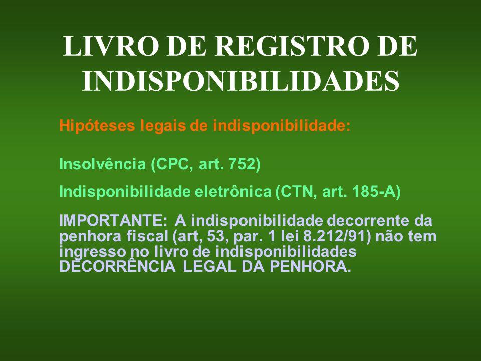 LIVRO DE REGISTRO DE INDISPONIBILIDADES Hipóteses legais de indisponibilidade: Insolvência (CPC, art. 752) Indisponibilidade eletrônica (CTN, art. 185