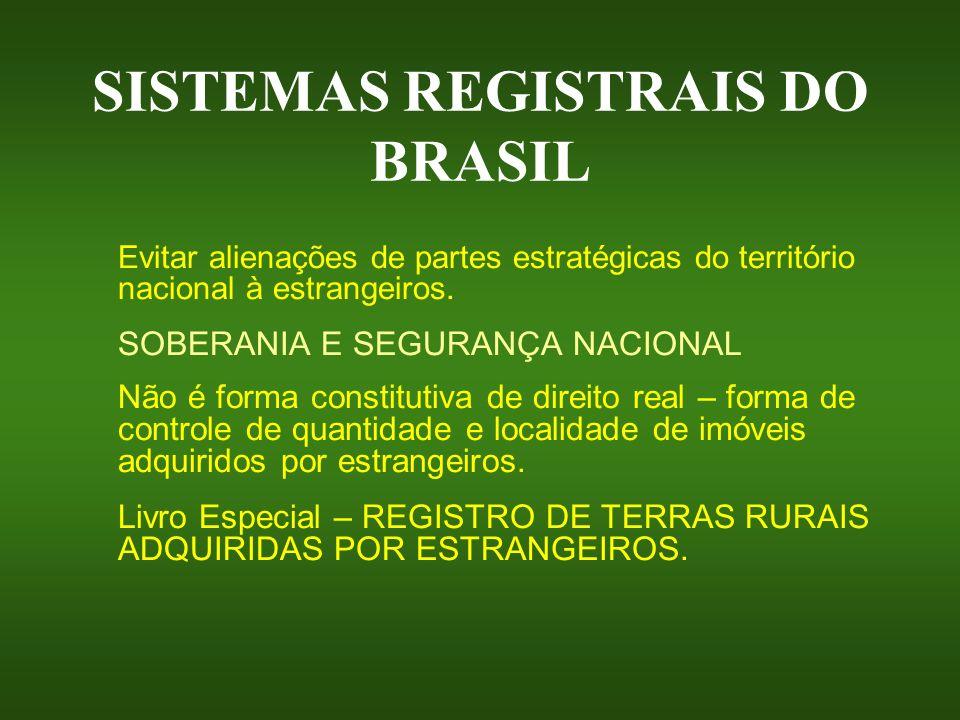 SISTEMAS REGISTRAIS DO BRASIL Evitar alienações de partes estratégicas do território nacional à estrangeiros. SOBERANIA E SEGURANÇA NACIONAL Não é for