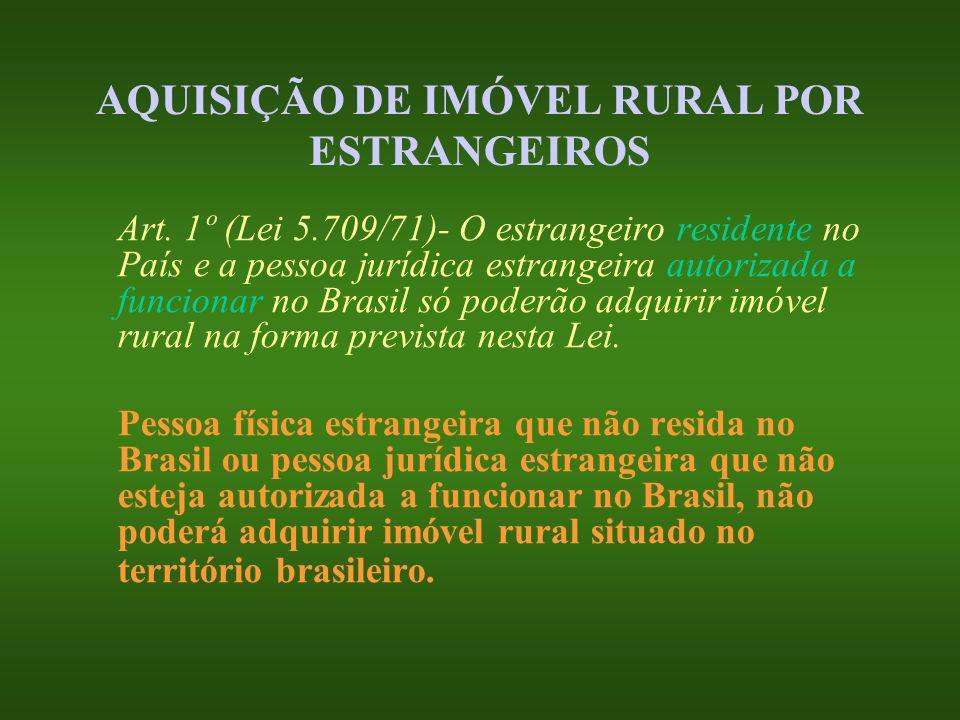 AQUISIÇÃO DE IMÓVEL RURAL POR ESTRANGEIROS Art. 1º (Lei 5.709/71)- O estrangeiro residente no País e a pessoa jurídica estrangeira autorizada a funcio