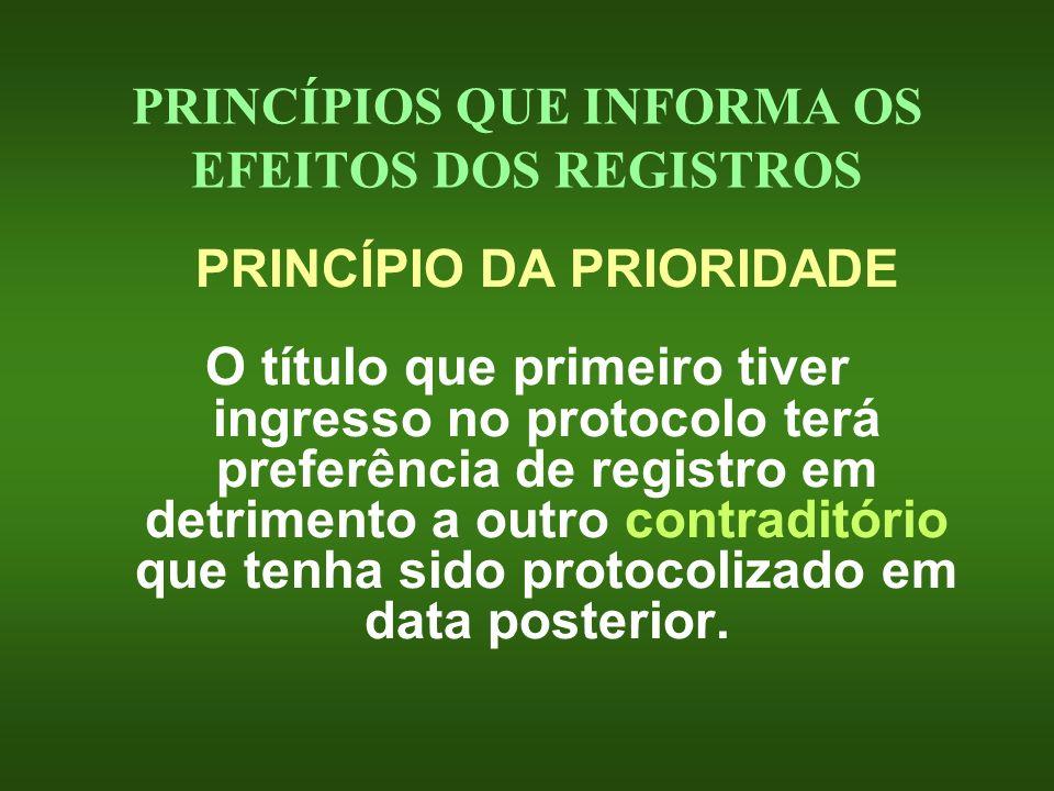 PRINCÍPIOS QUE INFORMA OS EFEITOS DOS REGISTROS PRINCÍPIO DA PRIORIDADE O título que primeiro tiver ingresso no protocolo terá preferência de registro