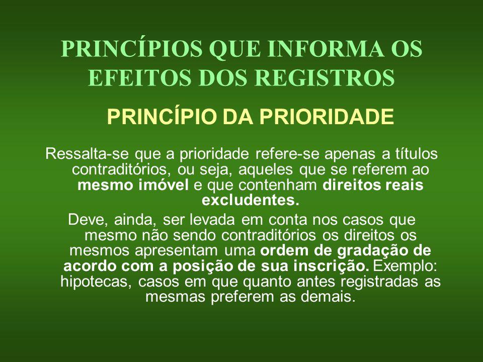 PRINCÍPIOS QUE INFORMA OS EFEITOS DOS REGISTROS PRINCÍPIO DA PRIORIDADE Ressalta-se que a prioridade refere-se apenas a títulos contraditórios, ou sej