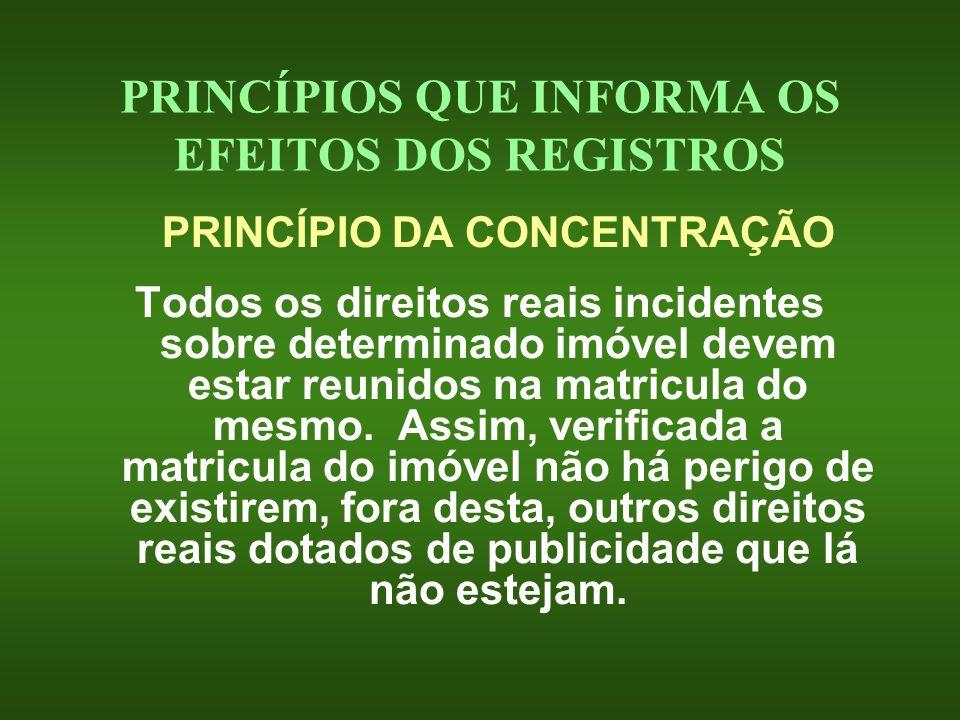 PRINCÍPIOS QUE INFORMA OS EFEITOS DOS REGISTROS PRINCÍPIO DA CONCENTRAÇÃO Todos os direitos reais incidentes sobre determinado imóvel devem estar reun