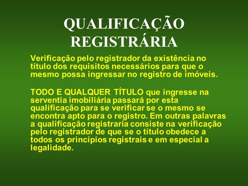 QUALIFICAÇÃO REGISTRÁRIA Verificação pelo registrador da existência no título dos requisitos necessários para que o mesmo possa ingressar no registro