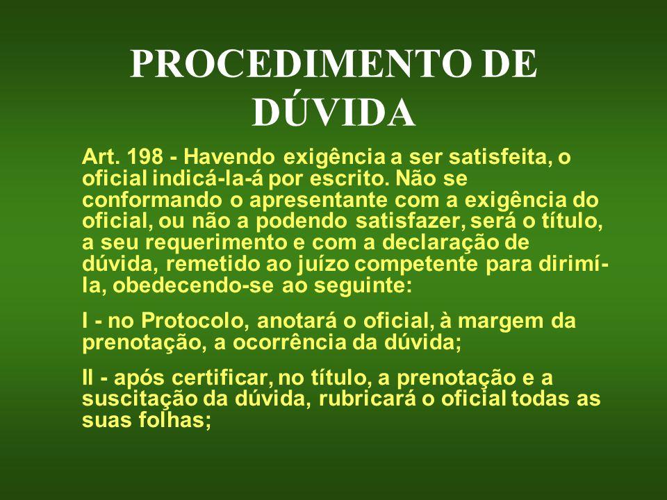 PROCEDIMENTO DE DÚVIDA Art. 198 - Havendo exigência a ser satisfeita, o oficial indicá-la-á por escrito. Não se conformando o apresentante com a exigê