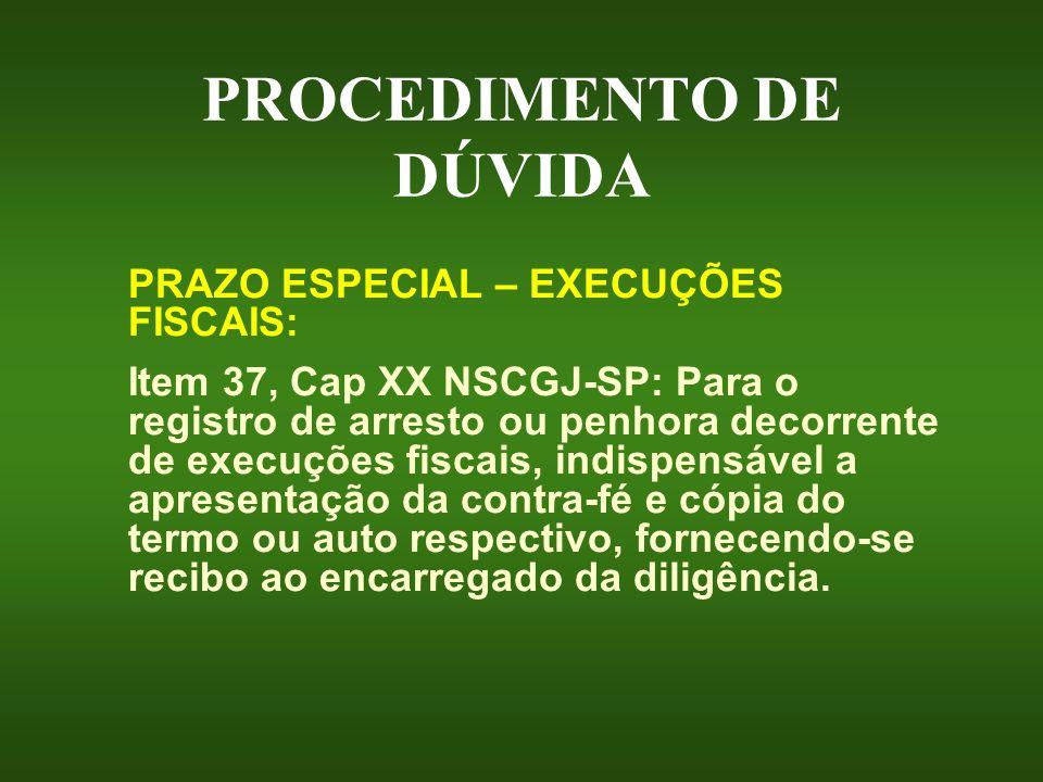 PROCEDIMENTO DE DÚVIDA PRAZO ESPECIAL – EXECUÇÕES FISCAIS: Item 37, Cap XX NSCGJ-SP: Para o registro de arresto ou penhora decorrente de execuções fis