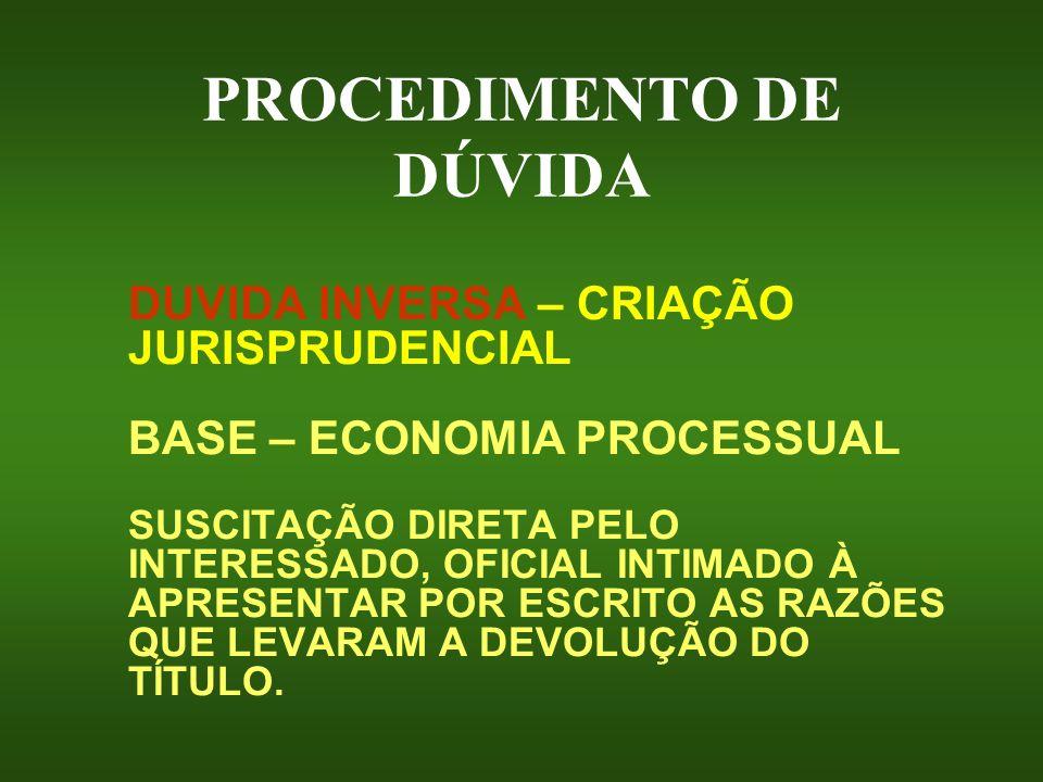 PROCEDIMENTO DE DÚVIDA DUVIDA INVERSA – CRIAÇÃO JURISPRUDENCIAL BASE – ECONOMIA PROCESSUAL SUSCITAÇÃO DIRETA PELO INTERESSADO, OFICIAL INTIMADO À APRE