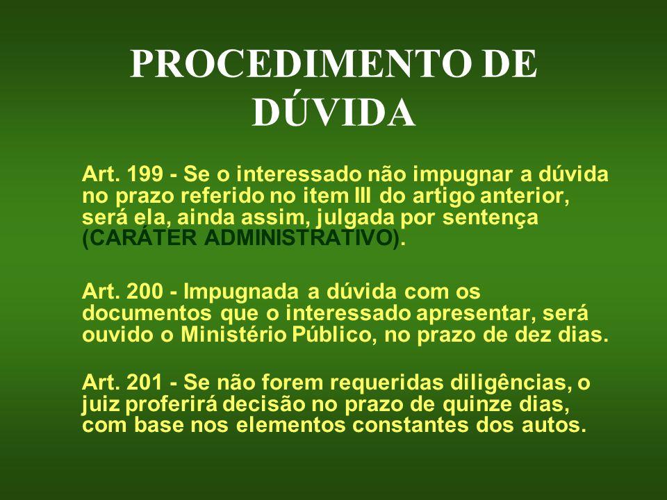 PROCEDIMENTO DE DÚVIDA Art. 199 - Se o interessado não impugnar a dúvida no prazo referido no item III do artigo anterior, será ela, ainda assim, julg