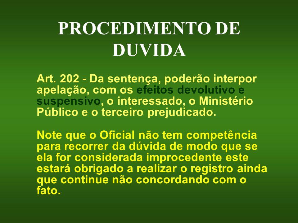 PROCEDIMENTO DE DUVIDA Art. 202 - Da sentença, poderão interpor apelação, com os efeitos devolutivo e suspensivo, o interessado, o Ministério Público