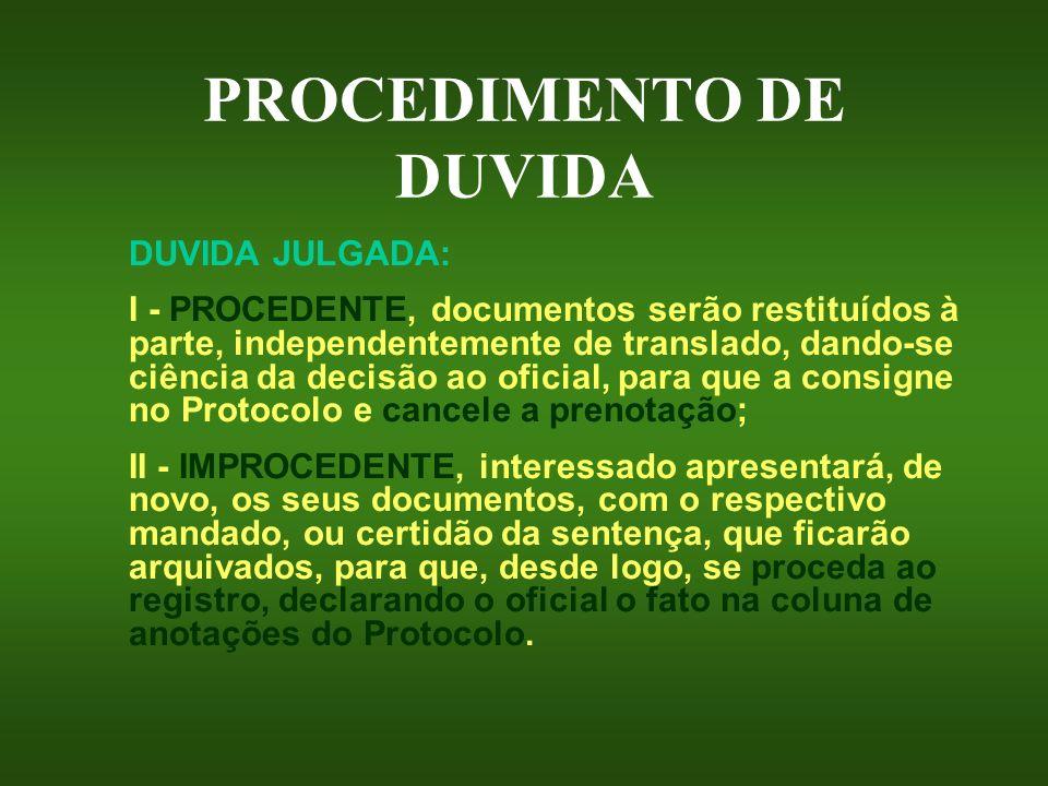 PROCEDIMENTO DE DUVIDA DUVIDA JULGADA: I - PROCEDENTE, documentos serão restituídos à parte, independentemente de translado, dando-se ciência da decis