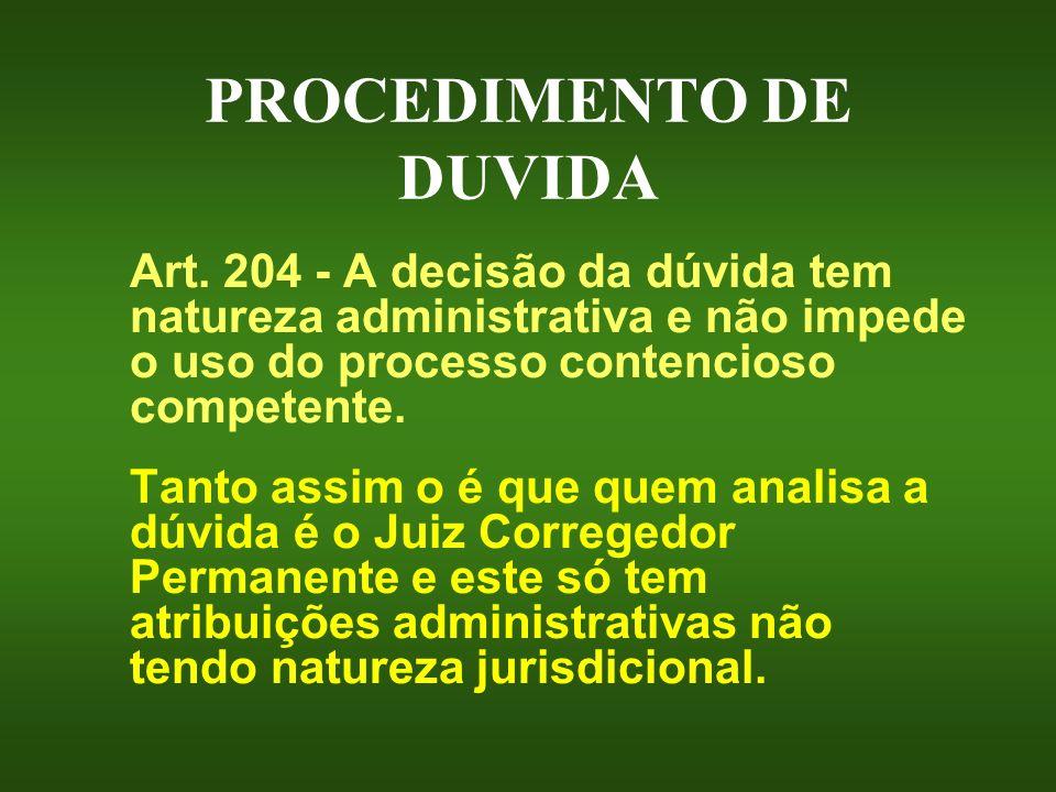 PROCEDIMENTO DE DUVIDA Art. 204 - A decisão da dúvida tem natureza administrativa e não impede o uso do processo contencioso competente. Tanto assim o