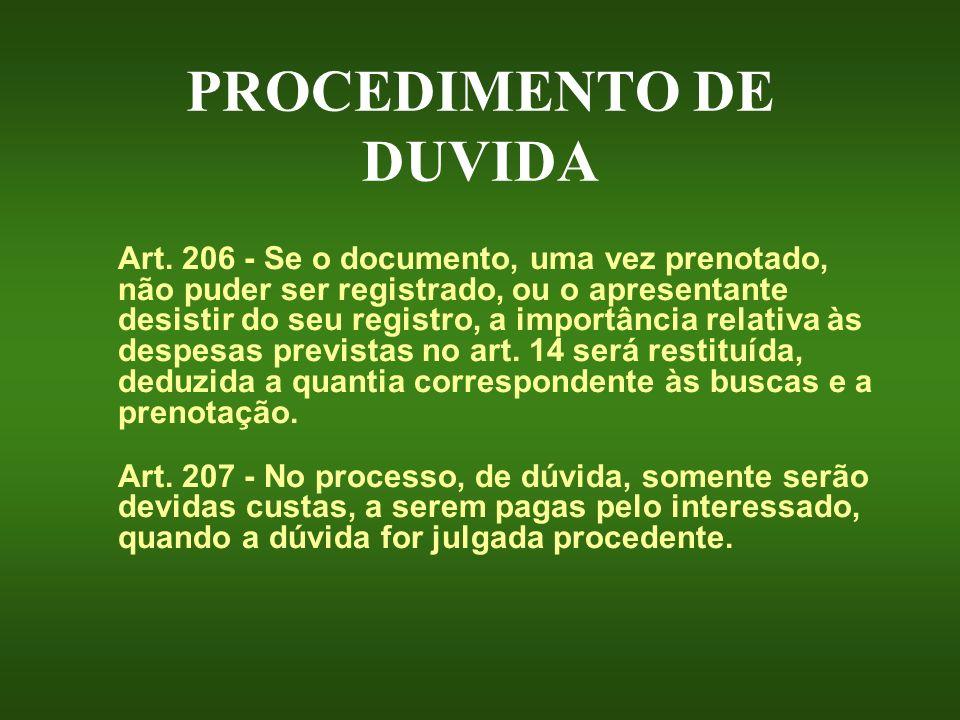 PROCEDIMENTO DE DUVIDA Art. 206 - Se o documento, uma vez prenotado, não puder ser registrado, ou o apresentante desistir do seu registro, a importânc