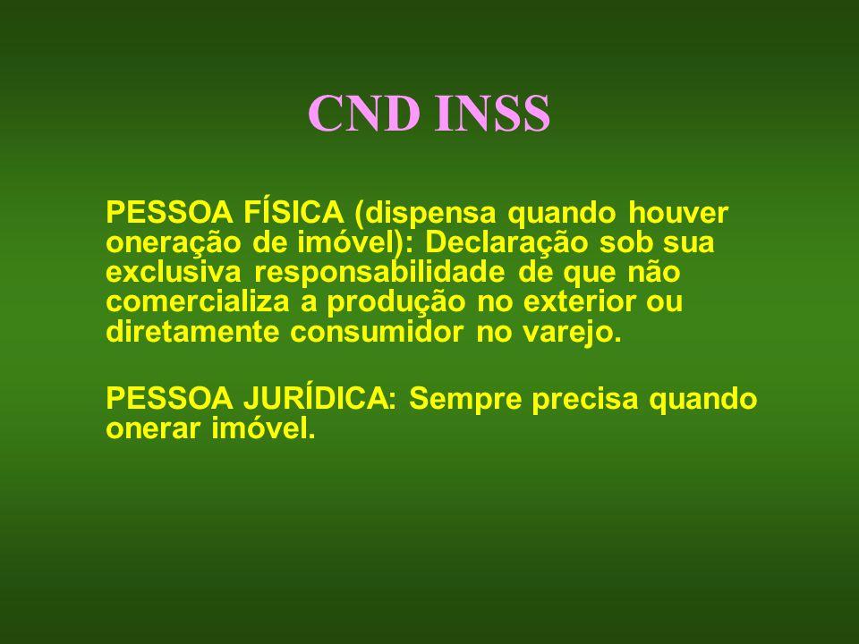 CND INSS PESSOA FÍSICA (dispensa quando houver oneração de imóvel): Declaração sob sua exclusiva responsabilidade de que não comercializa a produção n