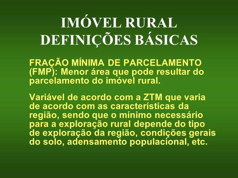 IMÓVEL RURAL DEFINIÇÕES BÁSICAS FRAÇÃO MÍNIMA DE PARCELAMENTO (FMP): Menor área que pode resultar do parcelamento do imóvel rural. Variável de acordo