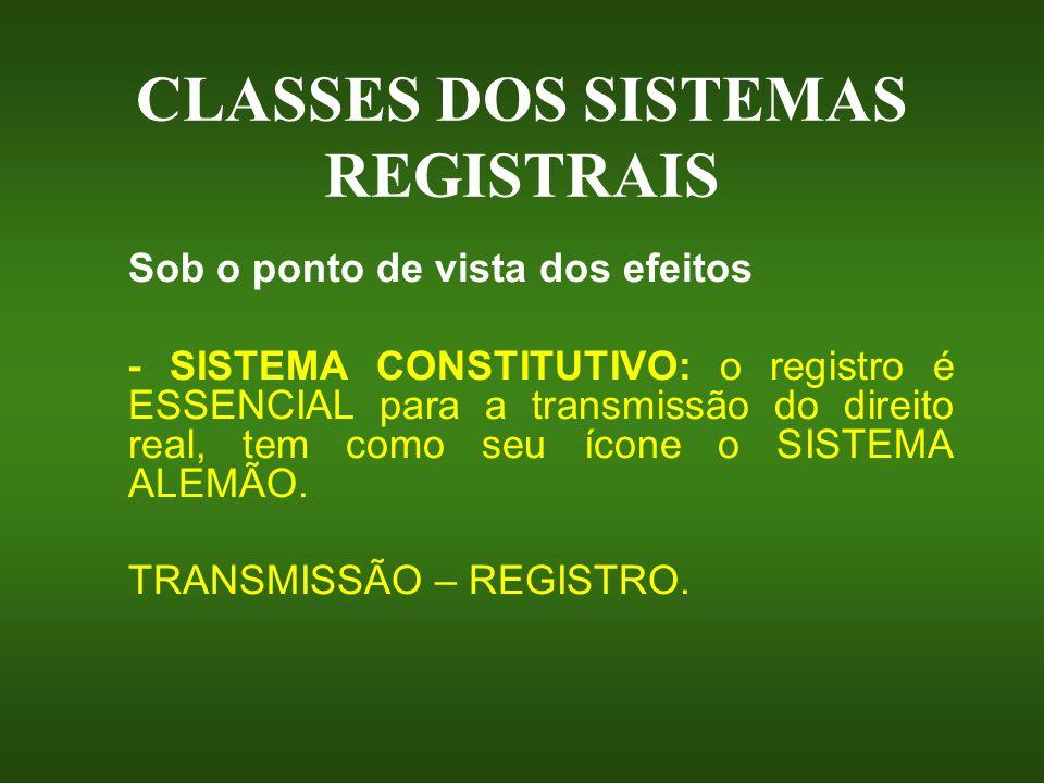 CLASSES DOS SISTEMAS REGISTRAIS Sob o ponto de vista dos efeitos - SISTEMA CONSTITUTIVO: o registro é ESSENCIAL para a transmissão do direito real, te