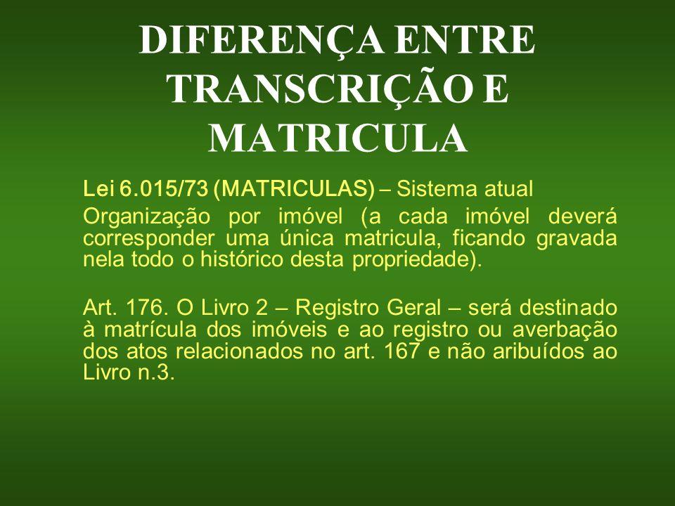 DIFERENÇA ENTRE TRANSCRIÇÃO E MATRICULA Lei 6.015/73 (MATRICULAS) – Sistema atual O rganização por imóvel (a cada imóvel deverá corresponder uma única
