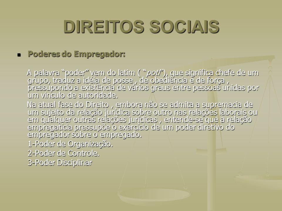 DIREITOS SOCIAIS Poderes do Empregador: Poderes do Empregador: A palavra poder vem do latim ( poti), que significa chefe de um grupo, traduz a idéia d
