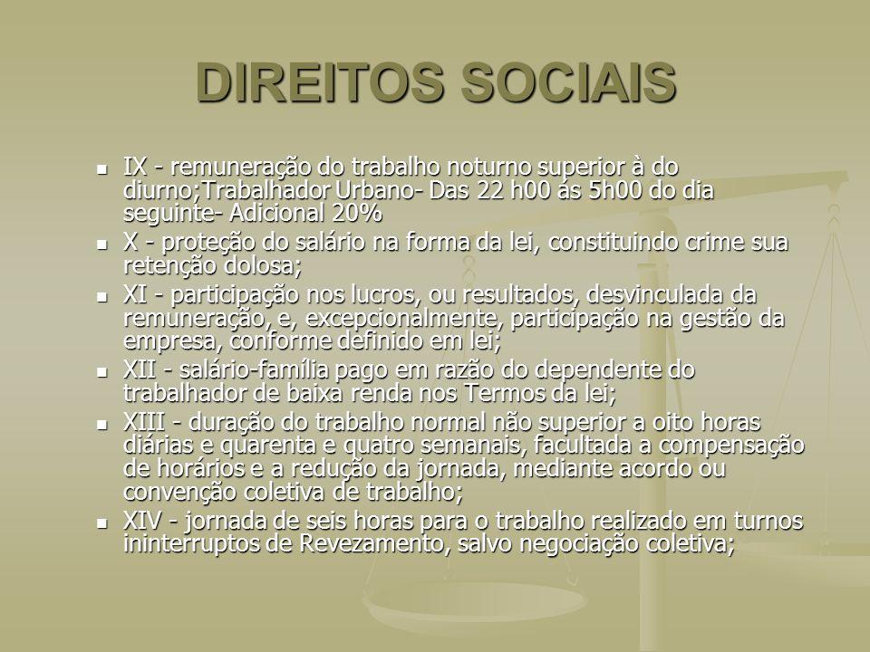 DIREITOS SOCIAIS IX - remuneração do trabalho noturno superior à do diurno;Trabalhador Urbano- Das 22 h00 ás 5h00 do dia seguinte- Adicional 20% IX -