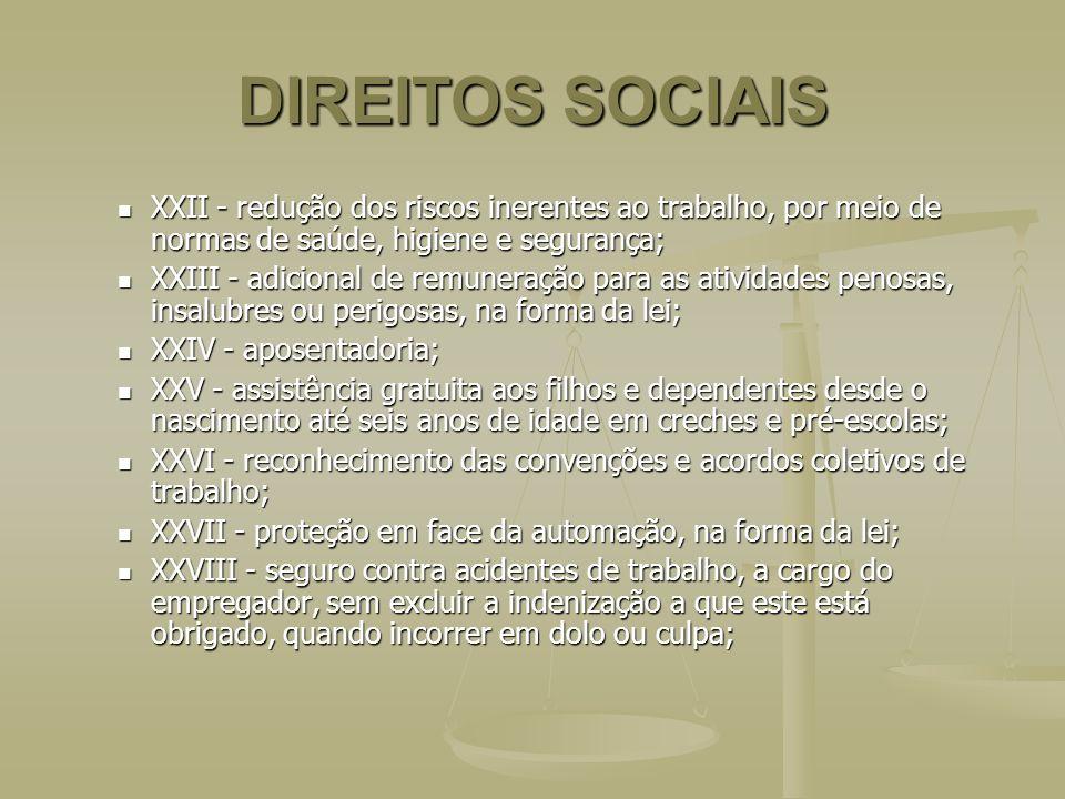 DIREITOS SOCIAIS XXII - redução dos riscos inerentes ao trabalho, por meio de normas de saúde, higiene e segurança; XXII - redução dos riscos inerente