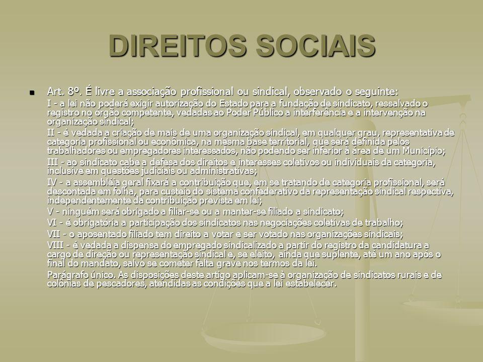 DIREITOS SOCIAIS Art. 8º. É livre a associação profissional ou sindical, observado o seguinte: Art. 8º. É livre a associação profissional ou sindical,