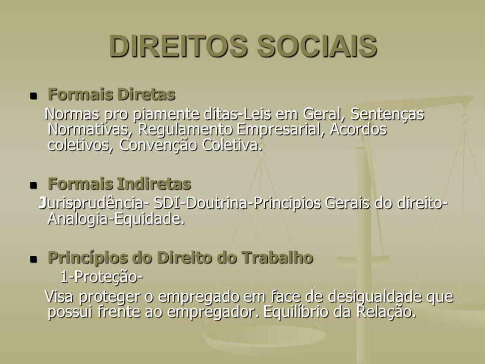 DIREITOS SOCIAIS Formais Diretas Formais Diretas Normas pro piamente ditas-Leis em Geral, Sentenças Normativas, Regulamento Empresarial, Acordos colet