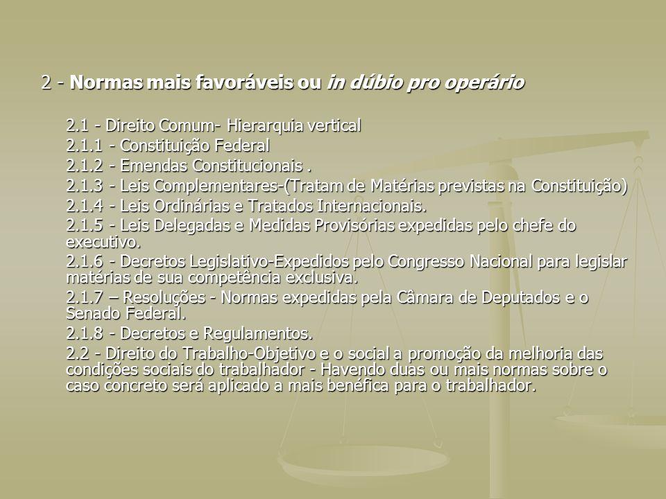 2 - Normas mais favoráveis ou in dúbio pro operário 2.1 - Direito Comum- Hierarquia vertical 2.1.1 - Constituição Federal 2.1.2 - Emendas Constitucion