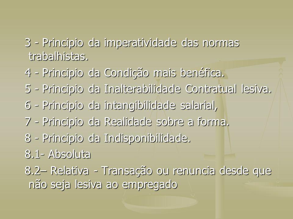 3 - Principio da imperatividade das normas trabalhistas. 3 - Principio da imperatividade das normas trabalhistas. 4 - Principio da Condição mais benéf