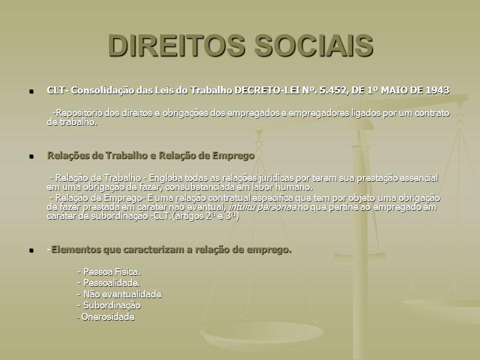 DIREITOS SOCIAIS CLT- Consolidação das Leis do Trabalho DECRETO-LEI Nº. 5.452, DE 1º MAIO DE 1943 CLT- Consolidação das Leis do Trabalho DECRETO-LEI N