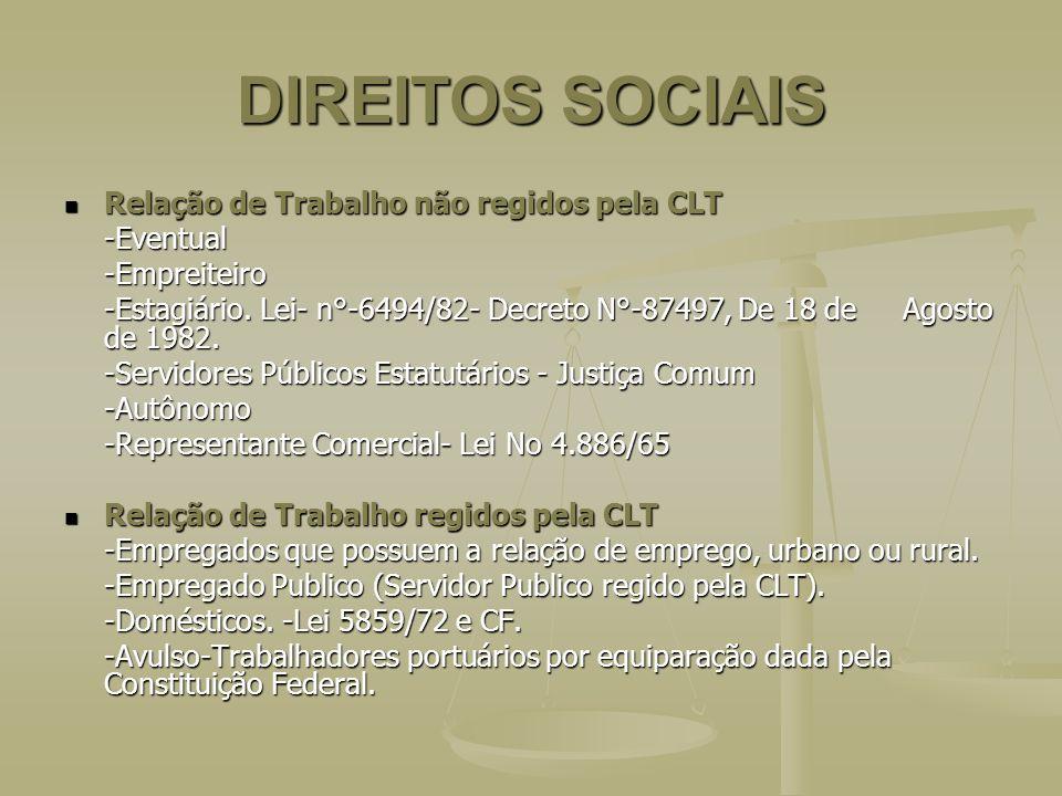 DIREITOS SOCIAIS Relação de Trabalho não regidos pela CLT Relação de Trabalho não regidos pela CLT-Eventual-Empreiteiro -Estagiário. Lei- n°-6494/82-