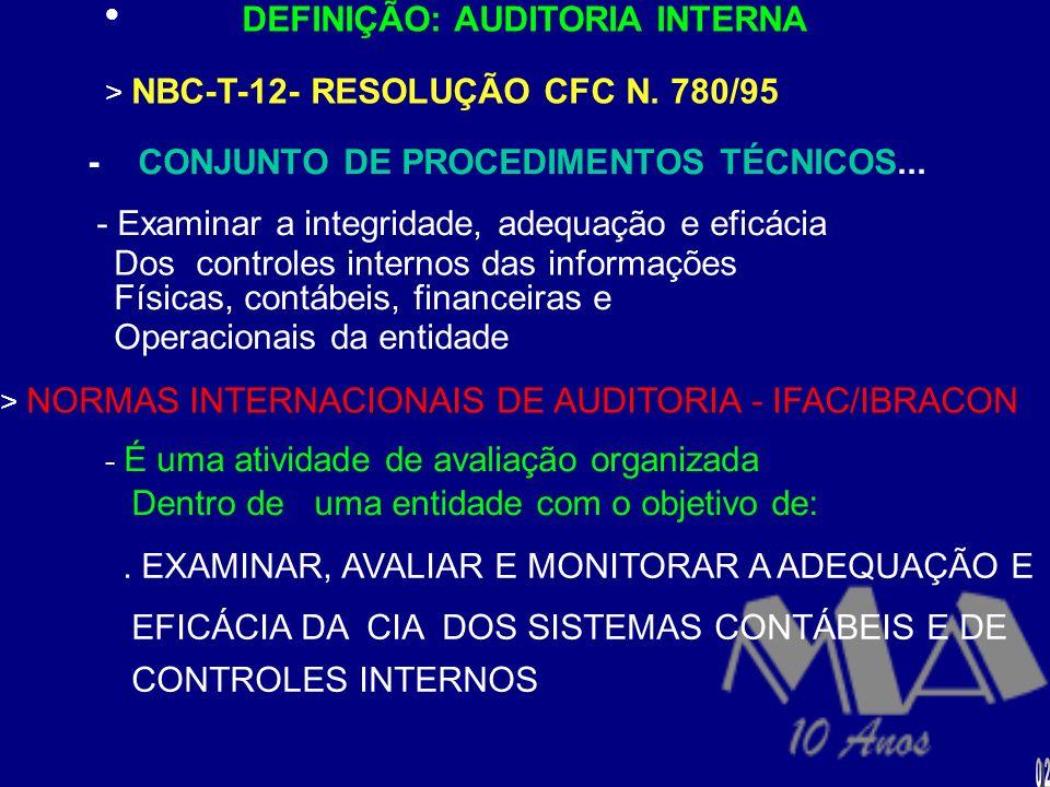 AUDITORIA CONTÁBIL (a) -INDEPENDENTE/EXTERNA –DEFINIÇÃO: > NBC-T-11- RESOLUÇÃOCFC N. 820/97 - CONJUNTO DE PROCEDIMENTOS TÉCNICOS.... - OBJETIVO - EMIS