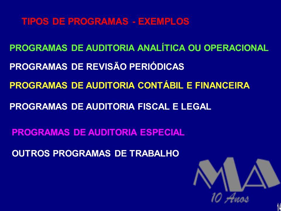 RESPONSABILIDADE P/PREPARAÇÃO/ELABORAÇÃO A elaboração dos programas é de Responsabilidade dos altos níveis de supervisão E ou gerência da auditoria, d