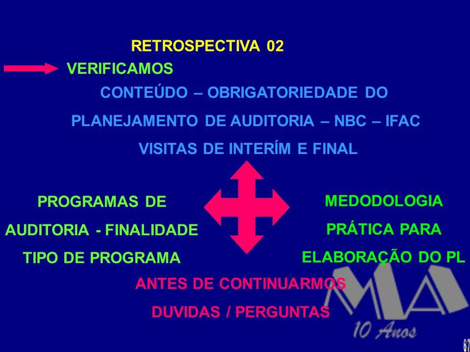 ESTE FORMULÁRIO DOCUMENTA O PROCESSO DE PLANE- JAMENTO DO TRABALHO DE AUDITORIA, REGISTRANDO, INCLUSIVE, AS INFORMAÇÕES BÁSICAS NECESSÁRIAS À ELABORAÇ